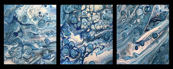 Painting - Blue Triptych On Black By Teresa Wilson by Teresa Wilson
