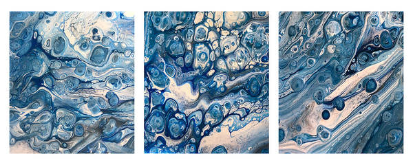 Painting - Blue Triptych On White By Teresa Wilson by Teresa Wilson