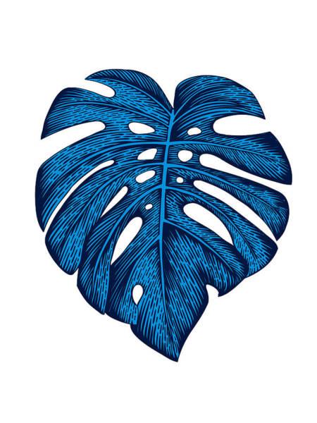 Wall Art - Mixed Media - Blue Tropical Leaf by Naxart Studio