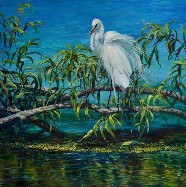 Ibis Painting - Blue Troubador by Laurie Snow Hein
