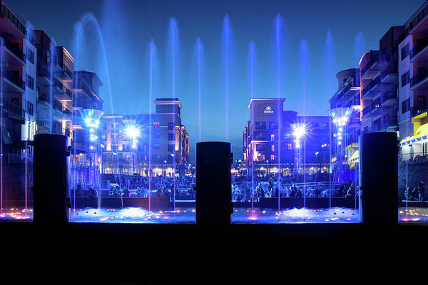 Photograph - Blue Twilight At The Branson Landing Fountain Show by Gregory Ballos