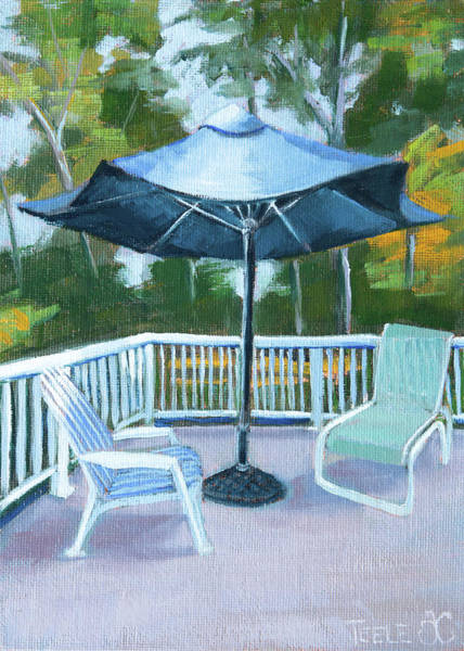 Painting - Blue Umbrella On The Deck by Trina Teele