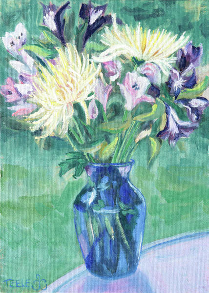 Painting - Blue Vase And Cut Flowers by Trina Teele