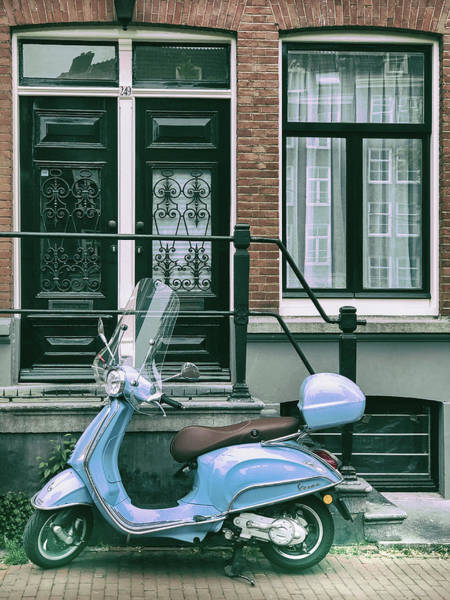 Photograph - Blue Vespa In Amsterdam by Georgia Fowler