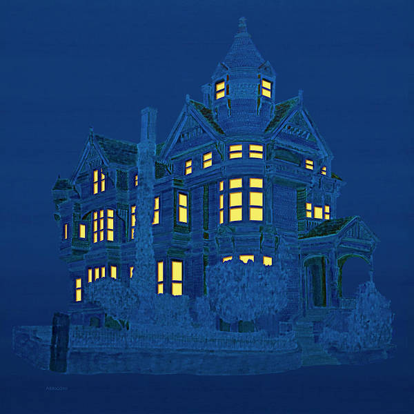 Painting - Blue Victorian Mansion by David Arrigoni