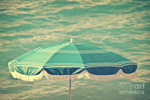 Wall Art - Photograph - Blue Vintage Beach Umbrella by Delphimages Photo Creations