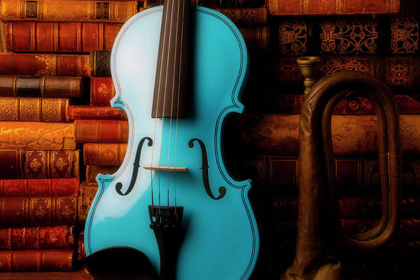 Wall Art - Photograph - Blue Violin And Old Books by Garry Gay