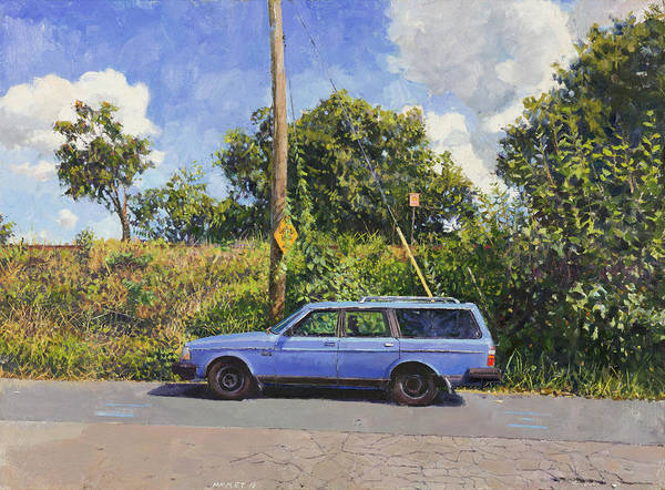 Wall Art - Painting - Blue Volvo by Edward Thomas