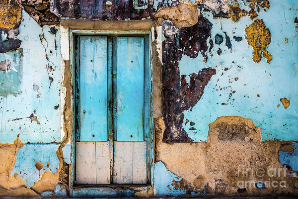 Photograph - Blue Wall And Door by Lyl Dil Creations
