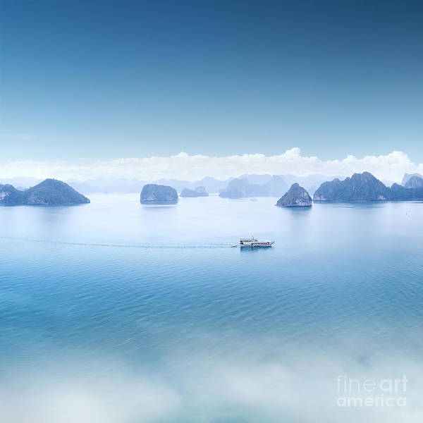Travel Destinations Wall Art - Photograph - Blue Water And Sky Aerial View Panorama by Banana Republic Images