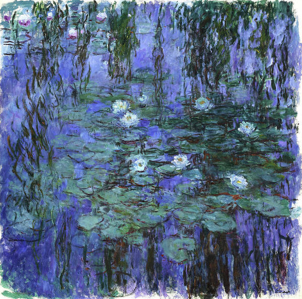 Wall Art - Painting - Blue Water Lilies - Digital Remastered Edition by Claude Monet