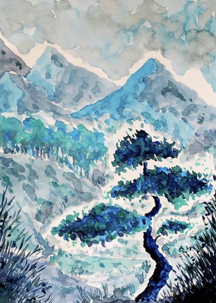 Painting - Blue Watercolor Landscape by ZeichenbloQ