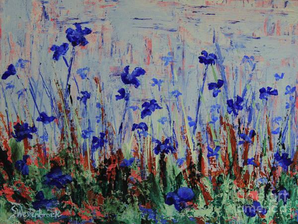 Wall Art - Painting - Blue Wild Flowers by Sherry Westenbroek