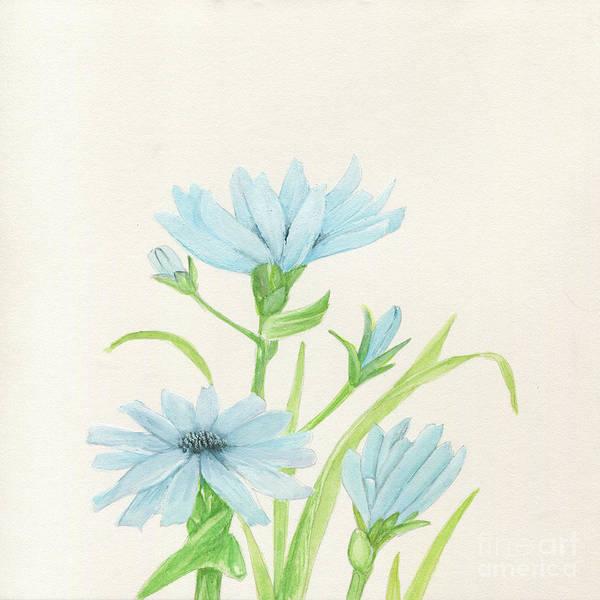 Blue Wildflowers Watercolor Art Print