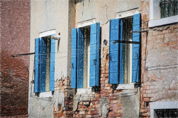 Photograph - Blue Window Shutters Of Venice by David Letts