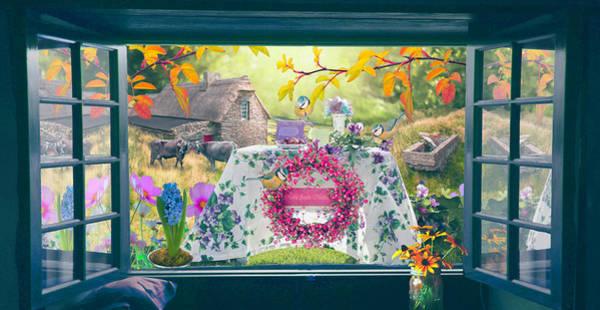 Digital Art - Blue Window To The Garden by Debra and Dave Vanderlaan
