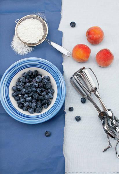 Wall Art - Photograph - Blueberries, Peaches, Flour by Yelena Strokin