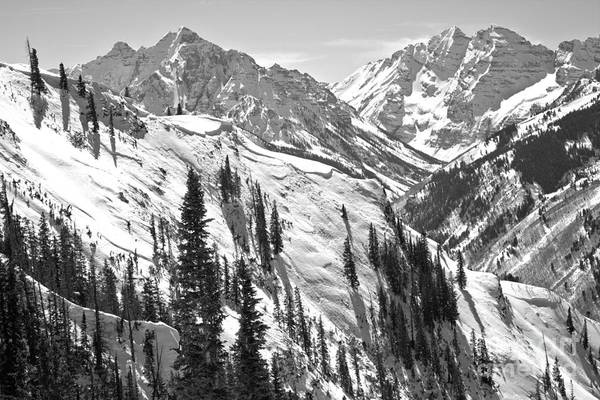 Photograph - Bluebird Skies Over The Maroon Bells Black And White by Adam Jewell