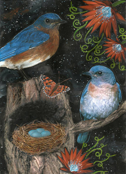 Bluebird Mixed Media - Bluebirds And Nest Mixed Media by Lorene Troyer