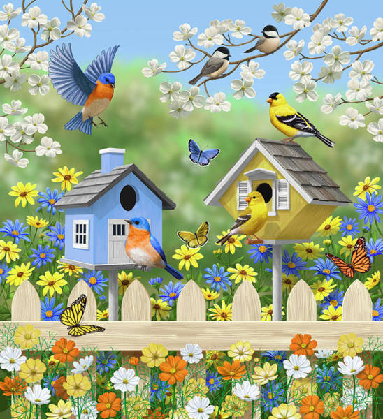 Dogwood Painting - Bluebirds Goldfinches Chickadees Birdhouses Spring Flower Garden by Crista Forest