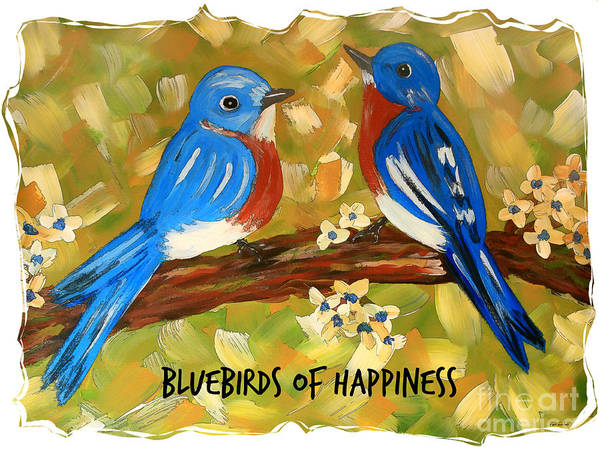 Wall Art - Painting - Bluebirds Of Happiness by Tina LeCour