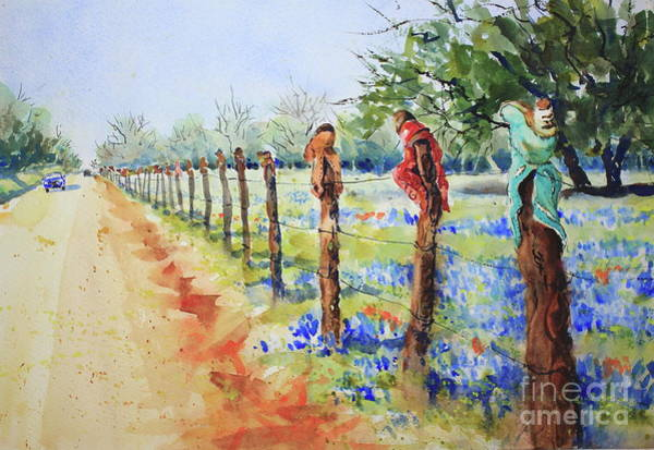 Central Texas Painting - Bluebonnets And Boots by Marsha Reeves