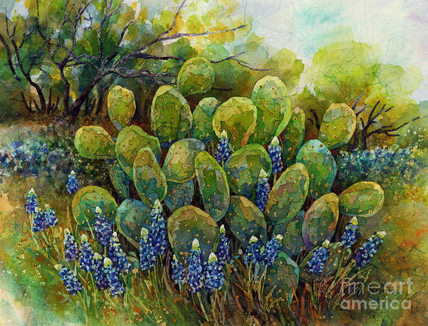 Wall Art - Painting - Bluebonnets And Cactus 2 by Hailey E Herrera