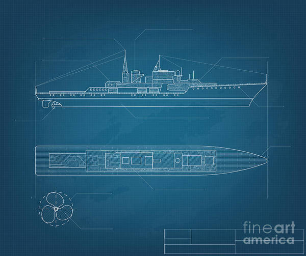 Yacht Wall Art - Digital Art - Blueprint Ship by Cornflower