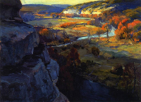 Wall Art - Painting - Bluffs On The Guadalupe River, 17 Miles Above Kerryville Texas, 1921 by Julian Onderdonk