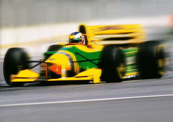 Crash Helmet Photograph - Blurred Image Of A Yellow Race Car With by Australian Scenics