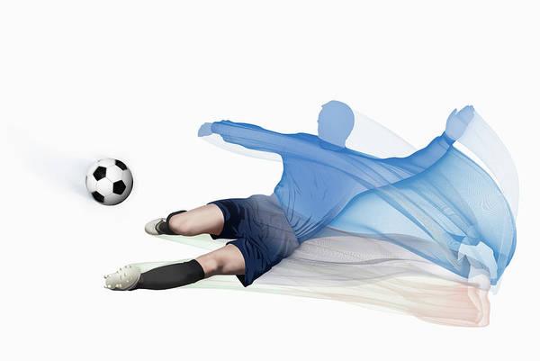 Men Digital Art - Blurred Motion View Of Man Kicking by Nick White