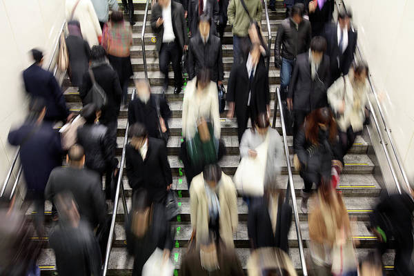 Rush Hour Photograph - Blurred People On Stairs To Represent by Samxmeg