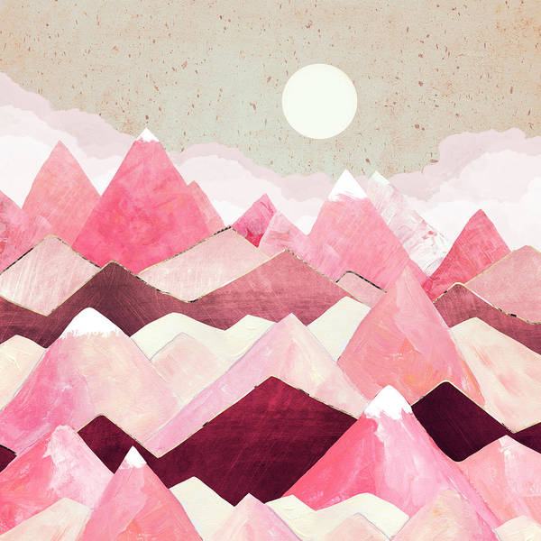 Peak Digital Art - Blush Berry Peaks by Spacefrog Designs