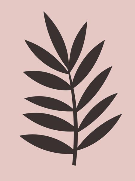 Earth Day Wall Art - Mixed Media - Blush Pink Leaf I by Naxart Studio