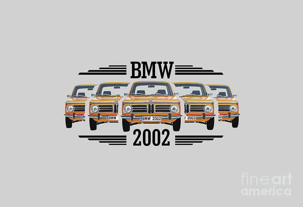 Collector Car Painting - Bmw 2002 T-shirt Design by Lance Grootboom