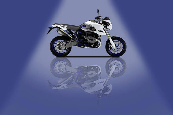 Wall Art - Mixed Media - Bmw Hp2 Sport Blue Spotlight by Smart Aviation