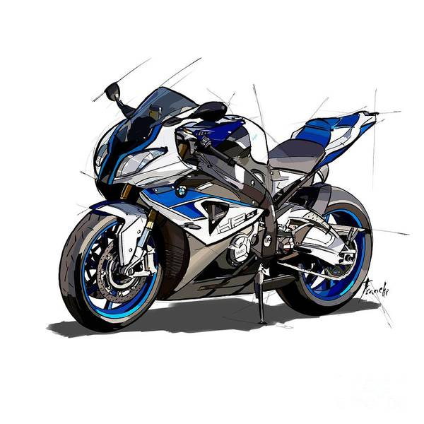 Wall Art - Drawing - bmw motorcycle hp4. Original artwork. Original gift for bikers by Drawspots Illustrations