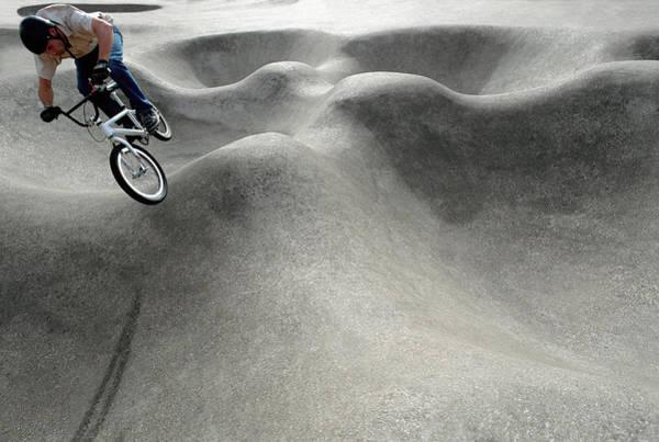 Bmx Photograph - Bmx Biker Making Jump On Course by Laurence Dutton