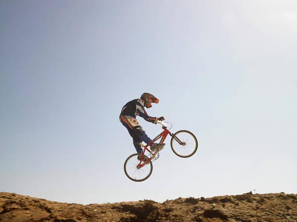 Bmx Photograph - Bmx Cyclist On Bike by Sean Justice