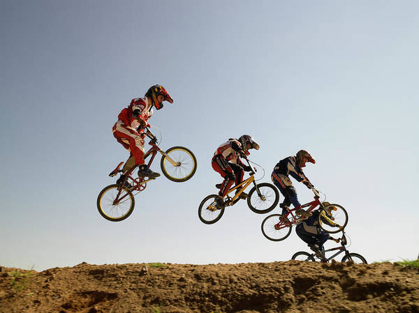 Bmx Photograph - Bmx Cyclists In Competition by Sean Justice