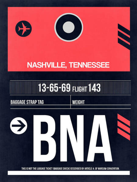 Nashville Wall Art - Digital Art - Bna Nashville Luggage Tag I by Naxart Studio