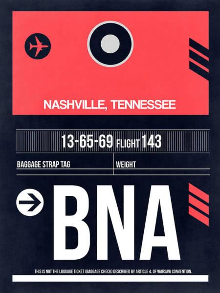 Wall Art - Digital Art - Bna Nashville Luggage Tag I by Naxart Studio