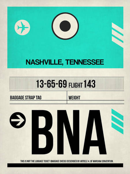 Nashville Wall Art - Digital Art - Bna Nashville Luggage Tag II by Naxart Studio