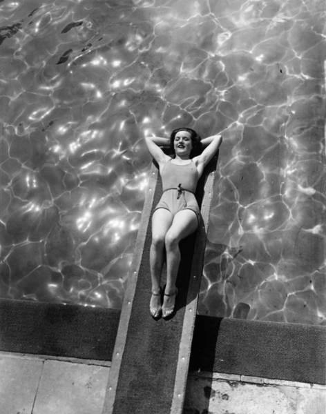 Diving Board Photograph - Board Bather by H F Davis