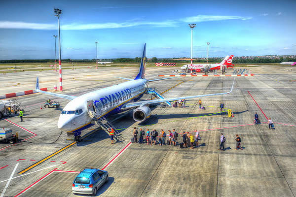 Wall Art - Photograph - Boarding A Ryanair Jet by David Pyatt