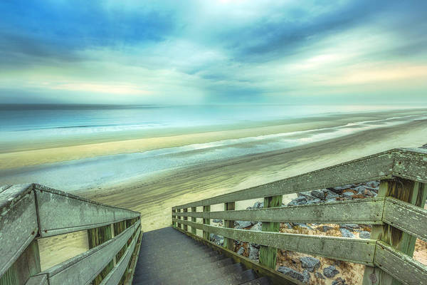 Photograph - Boardwalk Into Sunrise At Low Tide On A Soft Morning by Debra and Dave Vanderlaan