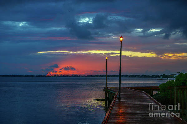 Photograph - Boardwalk Lamp Posts by Tom Claud
