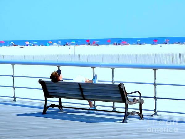 Park Bench Digital Art - Boardwalk Nap by Ed Weidman