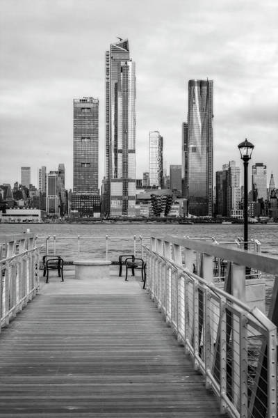 Photograph - Boardwalk To New York City Skyline Bw by Susan Candelario