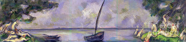 Wall Art - Painting - Boat And Bathers by Paul Cezanne